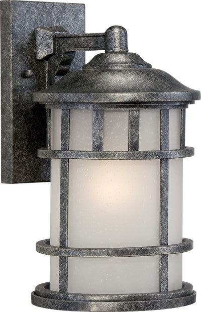 Nuvo Lighting 60/5632 MANOR 1 light 8 Inch OUTDOOR WALL AGED SILVER W/FROSTD SEED GLSS