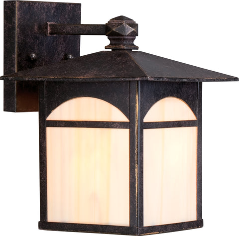Nuvo Lighting 60/5651 Canyon 1 light 7 Inch Outdoor Wall Mount Sconce Fixture with Honey Stained Glass