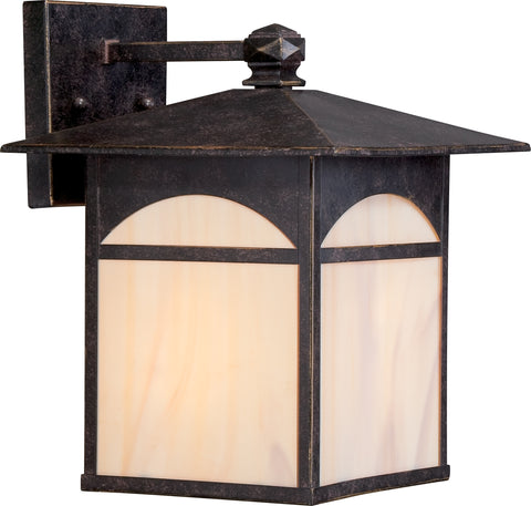 Nuvo Lighting 60/5652 Canyon 1 light 9 Inch Outdoor Wall Mount Sconce Fixture with Honey Stained Glass
