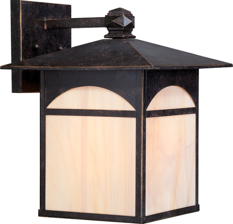 Nuvo Lighting 60/5653 Canyon 1 light 11 Inch Outdoor Wall Mount Sconce Fixture with Honey Stained Glass