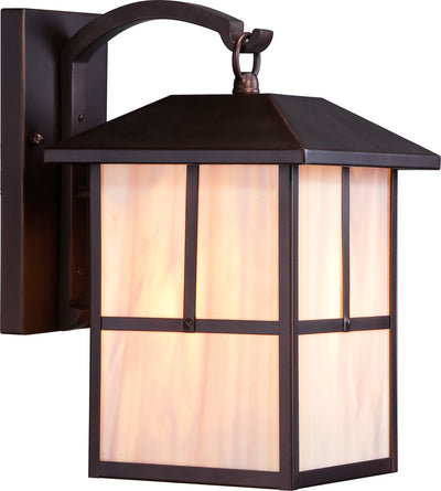 Nuvo Lighting 60/5672 Tanner 1 light 8 Inch Outdoor Wall Mount Sconce Fixture with Honey Stained Glass