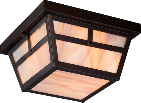 Nuvo Lighting 60/5676 Tanner 2 light Outdoor Flush Fixture with Honey Stained Glass'