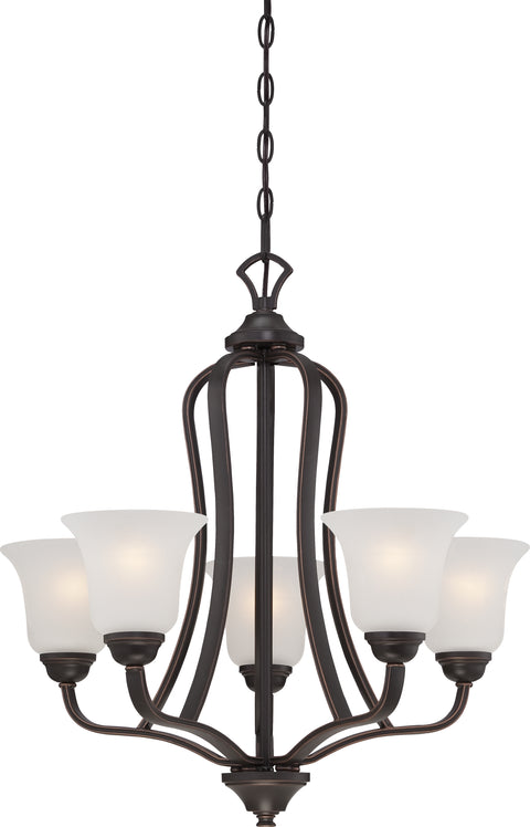 Nuvo Lighting 60/5695 Elizabeth 5 Light Chandelier with Frosted Glass