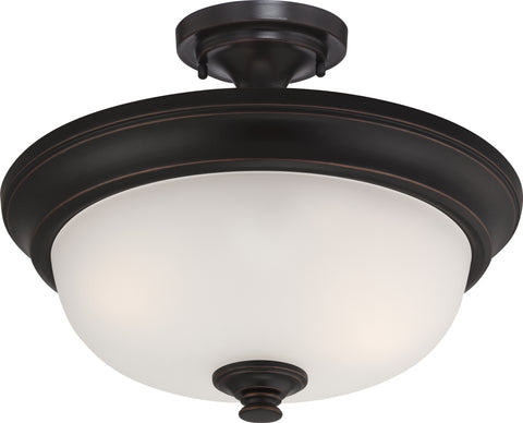 Nuvo Lighting 60/5700 Elizabeth 2 Light Semi Flush with Frosted Glass