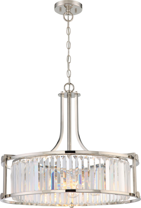Nuvo Lighting 60/5761 Krys 4 Light Crystal Pendant with 60W Vintage Lamps Included Polished Nickel Finish