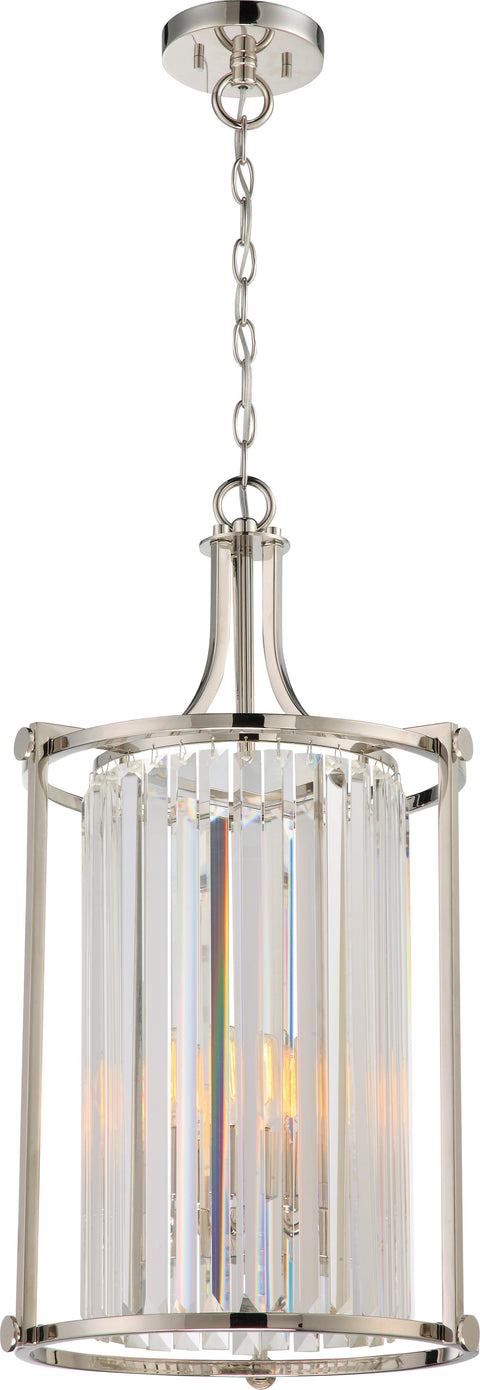 Nuvo Lighting 60/5762 Krys 4 Light Crystal Foyer Fixture with 60W Vintage Lamps Included Polished Nickel Finish