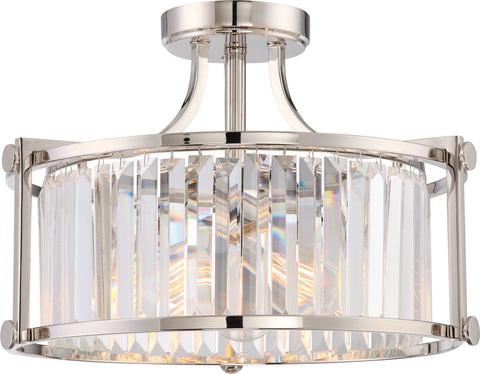 Nuvo Lighting 60/5763 Krys 3 Light Crystal Semi Flush Fixture with 60W Vintage Lamps Included Polished Nickel Finish