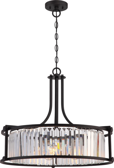 Nuvo Lighting 60/5771 Krys 4 Light Crystal Pendant with 60W Vintage Lamps Included Aged Bronze Finish