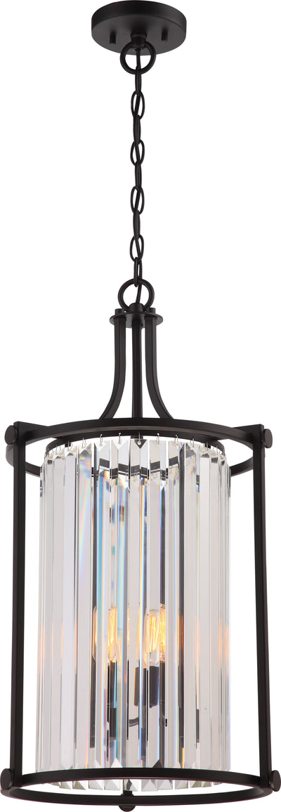 Nuvo Lighting 60/5772 Krys 4 Light Crystal Foyer Fixture with 60W Vintage Lamps Included Aged Bronze Finish