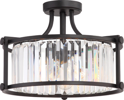 Nuvo Lighting 60/5773 Krys 3 Light Crystal Semi Flush Fixture with 60W Vintage Lamps Included Aged Bronze Finish
