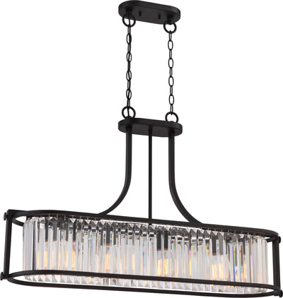 Nuvo Lighting 60/5775 Krys 4 Light Crystal Trestle with 60W Vintage Lamps Included Aged Bronze Finish