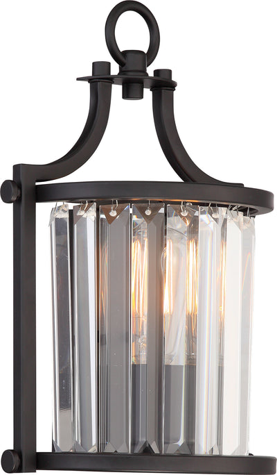 Nuvo Lighting 60/5776 Krys 1 Light Crystal Wall Mount Sconce Sconce with 60W Vintage Lamp Included Aged Bronze Finish