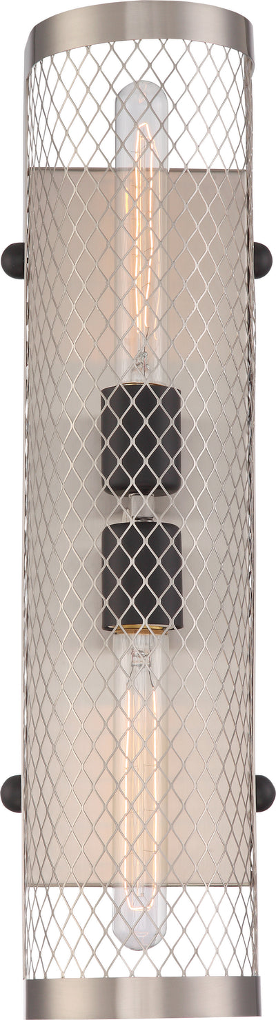 Nuvo Lighting 60/5783 BANDIT 2 LIGHT SCONCE  BR NICKELW/ AGED BRZ ACCENTS