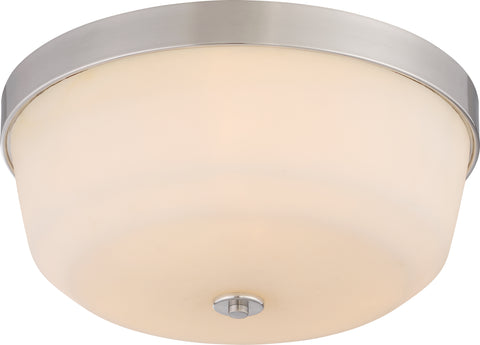 Nuvo Lighting 60/5824 Laguna 3 Light Flush Fixture with White Glass