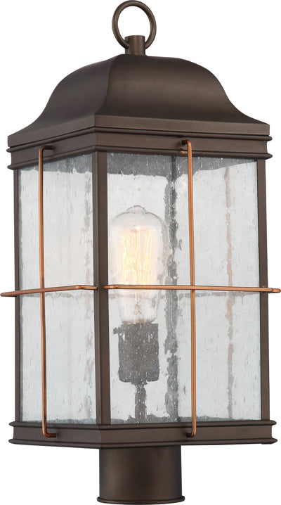 Nuvo Lighting 60/5835 Howell 1 Light Outdoor Post Lantern with 60W Vintage Lamp Included Bronze with Copper Accents Finish