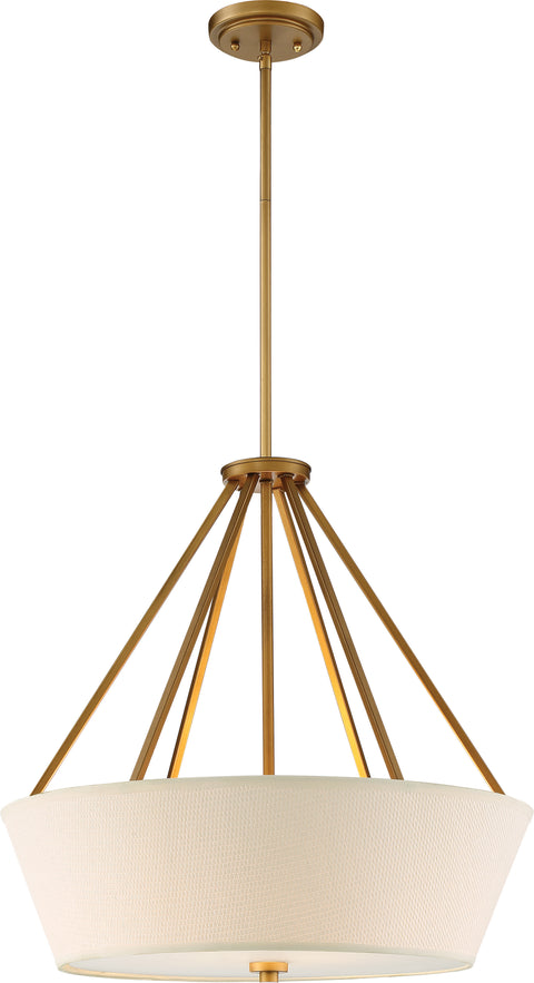 Nuvo Lighting 60/5841 4 Light Seneca 22 Inch Pendant Natural Brass Finish Almond Mesh Fabric Shade Etched Glass Diffuser