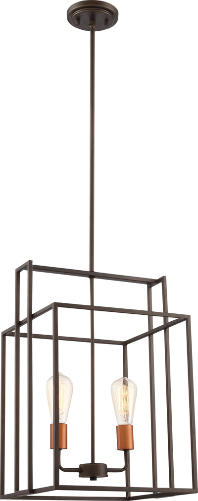 Nuvo Lighting 60/5852 Lake 2 Light 14 Inch Square Pendant Bronze with Copper Accents Finish