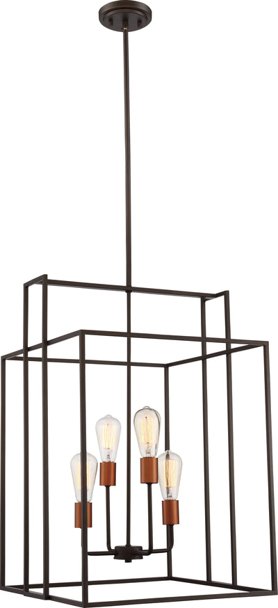 Nuvo Lighting 60/5853 Lake 4 Light 19 Inch Square Pendant Bronze with Copper Accents Finish