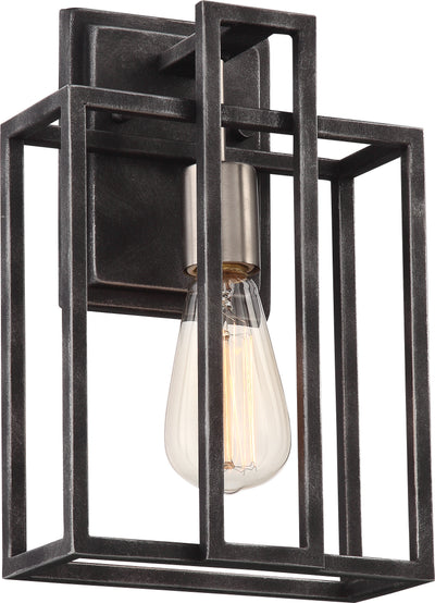 Nuvo Lighting 60/5856 Lake 1 Light Wall Mount Sconce Sconce Iron Black with Brushed Nickel Accents Finish