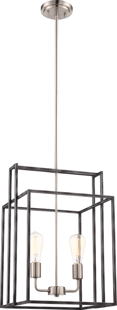 Nuvo Lighting 60/5857 Lake 2 Light 14 Inch Square Pendant Iron Black with Brushed Nickel Accents Finish
