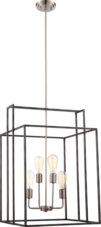 Nuvo Lighting 60/5858 Lake 4 Light 19 Inch Square Pendant Iron Black with Brushed Nickel Accents Finish