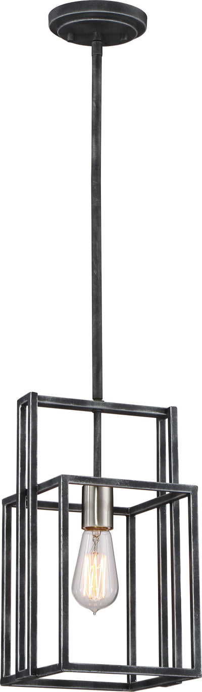 Nuvo Lighting 60/5860 Lake 1 Light Mini Pendant Iron Black with Brushed Nickel Accents Finish