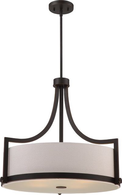 Nuvo Lighting 60/5886 Meadow 4 Light Pendant with White Fabric Shade Russet Bronze Finish