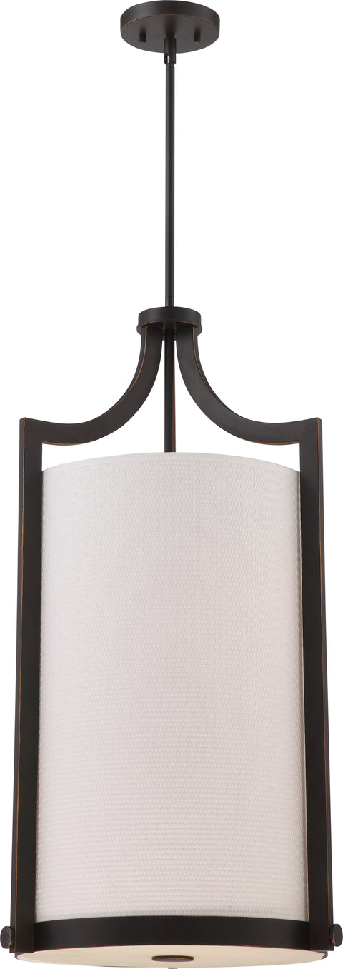 Nuvo Lighting 60/5890 Meadow 4 Light Large Foyer with White Fabric Shade Russet Bronze Finish