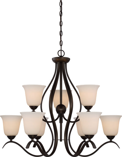 Nuvo Lighting 60/5919 DILLARD 9 light 2 TIER HANGING  FOREST BRONZE/WHITE GLASS