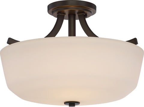 Nuvo Lighting 60/5926 Laguna 2 Light Semi Flush with White Glass