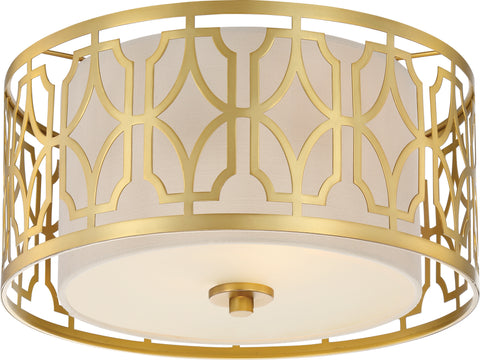 Nuvo Lighting 60/5931 Filigree 2 Light Flush Mount Natural Brass Finish Beige Linen Fabric Shade