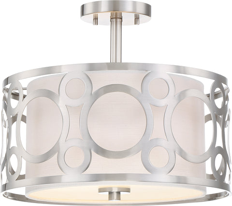 Nuvo Lighting 60/5948 Filigree 2 Light Semi Flush Mount White Linen Fabric Shade Beige Linen Fabric Shade