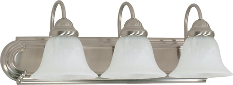 Nuvo Lighting 60/6075 Ballerina 3 Light 24 Inch Vanity with Alabaster Glass Bell Shades Color retail packaging