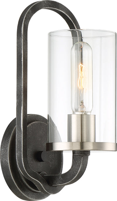 Nuvo Lighting 60/6121 1 Light Sherwood Wall Mount Sconce Sconce Iron Black with Brushed Nickel Accents Finish Clear Glass Lamp Included