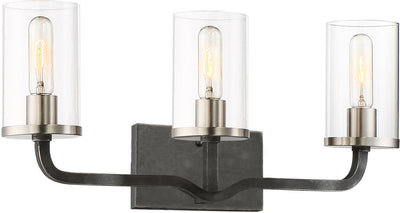 Nuvo Lighting 60/6123 Sherwood 3 Light Vanity 24 Inch Iron Black with Brushed Nickel Accents