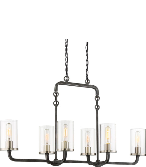 Nuvo Lighting 60/6124 6 Light Sherwood Island Pendant Iron Black with Brushed Nickel Accents Finish Clear Glass Lamps Included