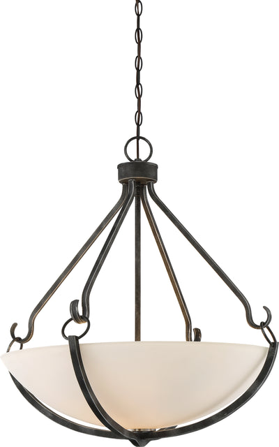 Nuvo Lighting 60/6125 4 Light Sherwood Pendant Iron Black with Brushed Nickel Accents Finish Frosted Etched Glass