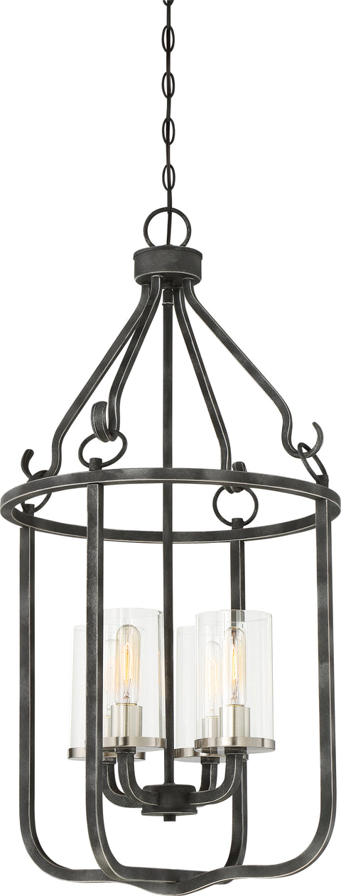 Nuvo Lighting 60/6127 4 Light Sherwood Caged Pendant Iron Black with Brushed Nickel Accents Finish Clear Glass Lamps Included