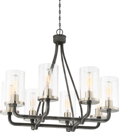 Nuvo Lighting 60/6128 8 Light Sherwood Chandelier Iron Black with Brushed Nickel Accents Finish Clear Glass Lamps Included