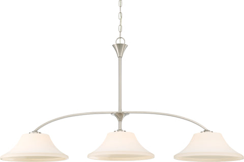 Nuvo Lighting 60/6208 Fawn 3 Light Island Pendant Fixture Brushed Nickel Finish