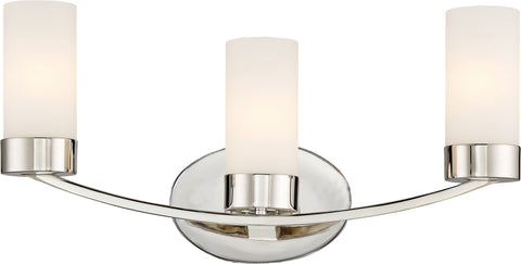 Nuvo Lighting 60/6223 Denver 3 Light Vanity Fixture Polished Nickel Finish