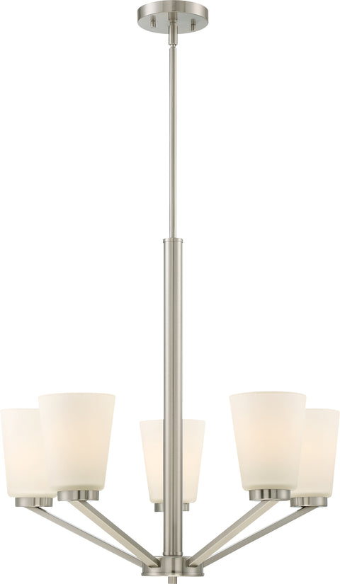 Nuvo Lighting 60/6246 Nome 5 Light Chandelier Fixture Brushed Nickel Finish