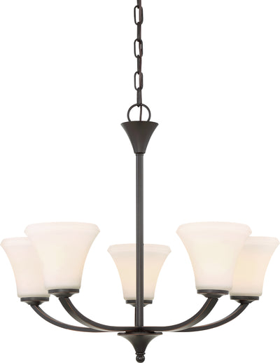 Nuvo Lighting 60/6305 Fawn 5 Light Chandelier Fixture Mahogany Bronze Finish