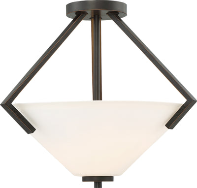 Nuvo Lighting 60/6351 Nome 2 Light Semi Flush Fixture Mahogany Bronze Finish