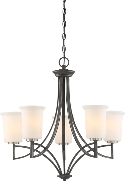 Nuvo Lighting 60/6375 Chester 5 Light Chandelier Fixture Iron Black Finish