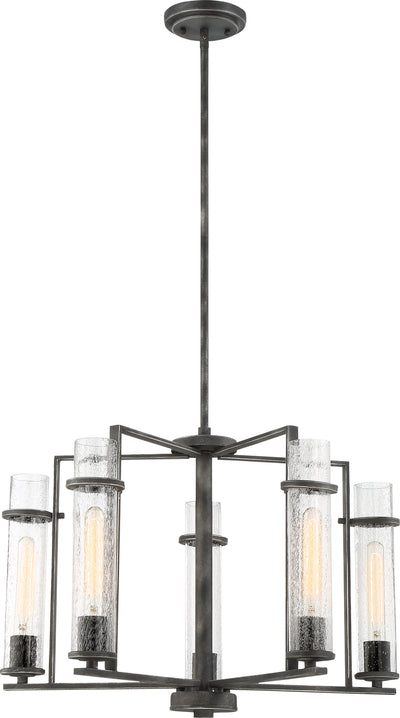 Nuvo Lighting 60/6385 Donzi 5 Light Chandelier Fixture Iron Black Finish
