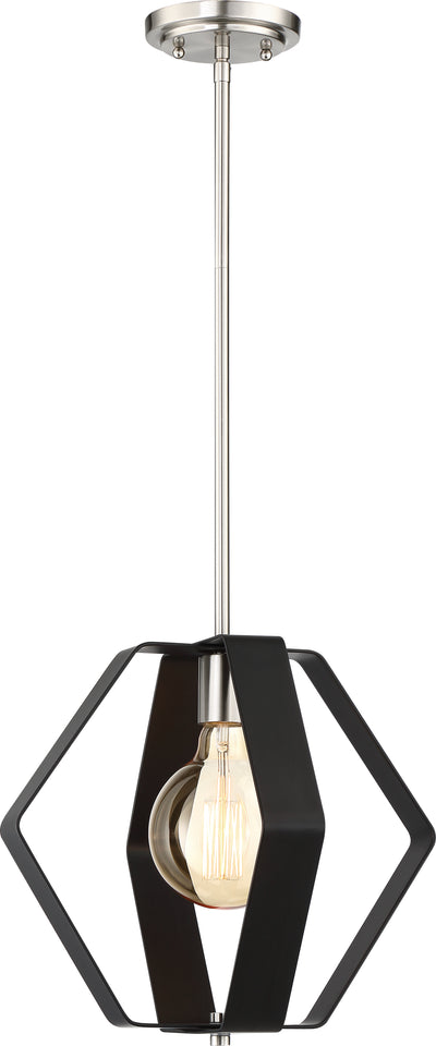 Nuvo Lighting 60/6392 Zen 1 Light 14 Inch Pendant Matte Black Finish with Brushed Nickel Accents