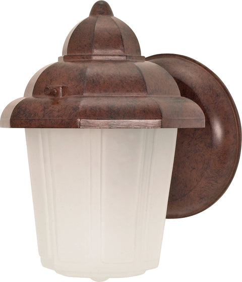 Nuvo Lighting 60/640 1 Light 9 Inch Wall Mount Sconce Lantern Hood Lantern with Satin Frosted Glass
