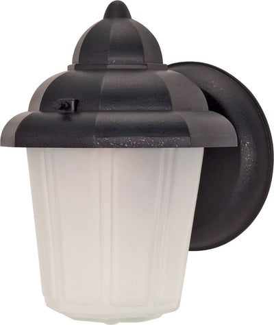 Nuvo Lighting 60/641 1 Light 9 Inch Wall Mount Sconce Lantern Hood Lantern with Satin Frosted Glass