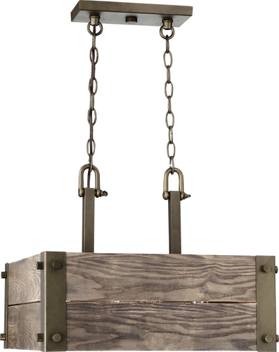 Nuvo Lighting 60/6422 Winchester 4 Light Square Pendant with Aged Wood